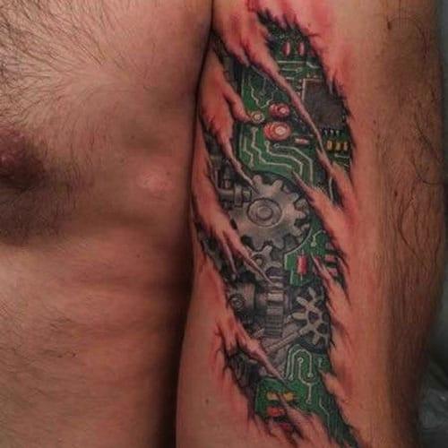 Biomechanical Tattoo Design For Guys