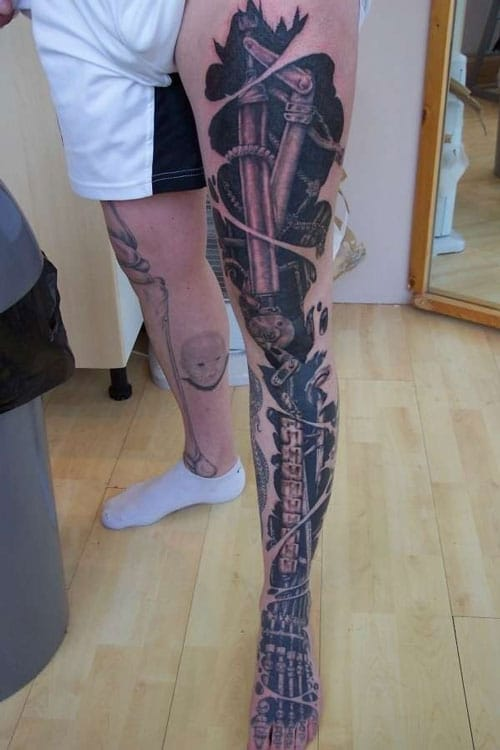 Cool Biomechanical Tattoo For Guys