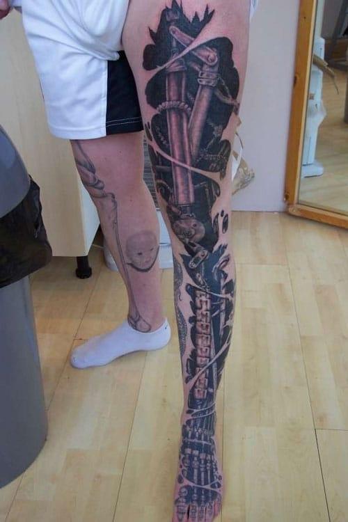 Cool Biomechanical Tattoo For Guys