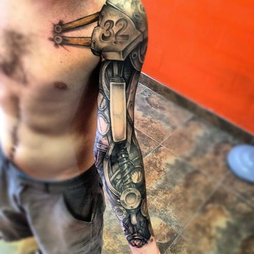 Cool Biomechanical Tattoo Ideas For Men
