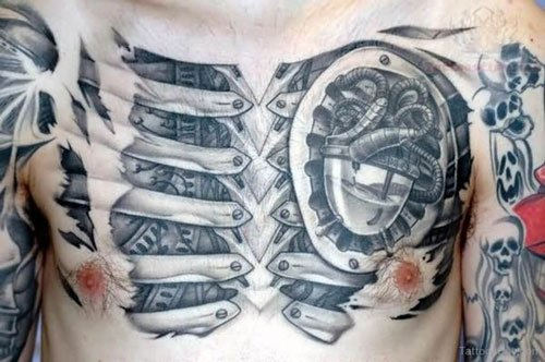 Cyborg Mechanical Leg Tattoo