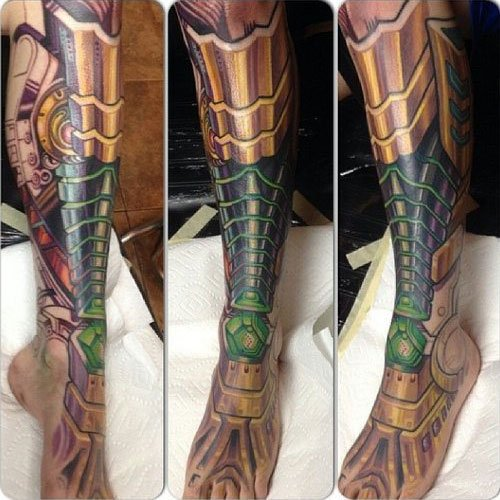Full Leg Sleeve Biomechanical Tattoo