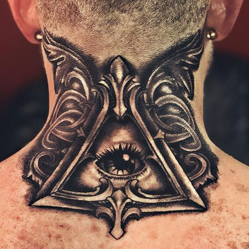 Eye Back of Neck Tattoo
