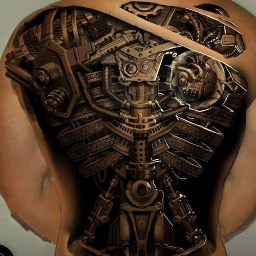 Mechanic Tattoos On Back For Men
