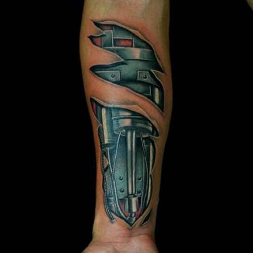 Mechanical Arm Tattoo For Males