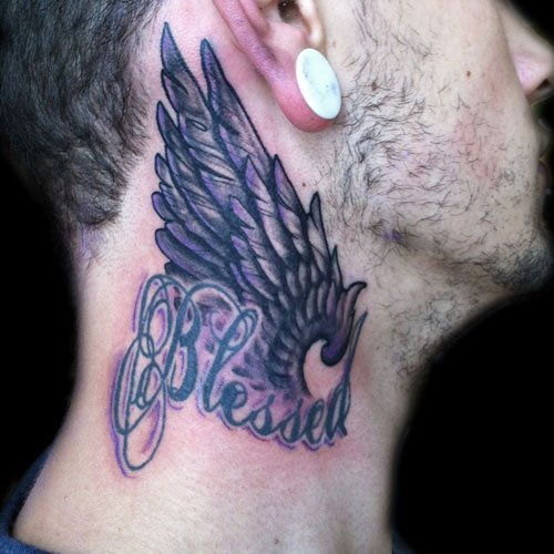 Angel Wings Neck Tattoo