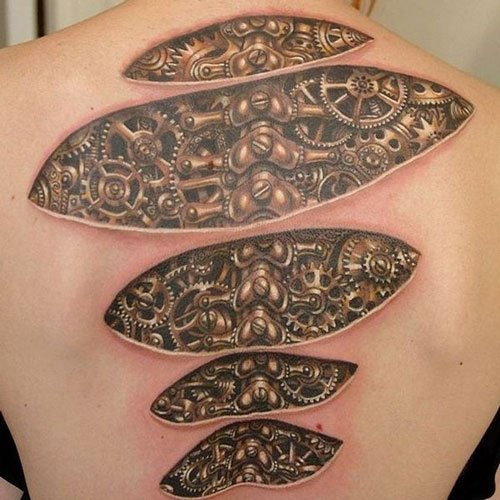 Ripped Skin Biomechanical Tattoo