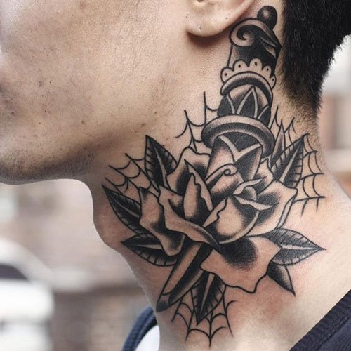Dagger and Rose Neck Tattoos For Men