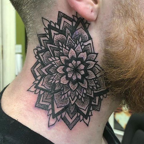 Sexy Side of Neck Tattoo For Men