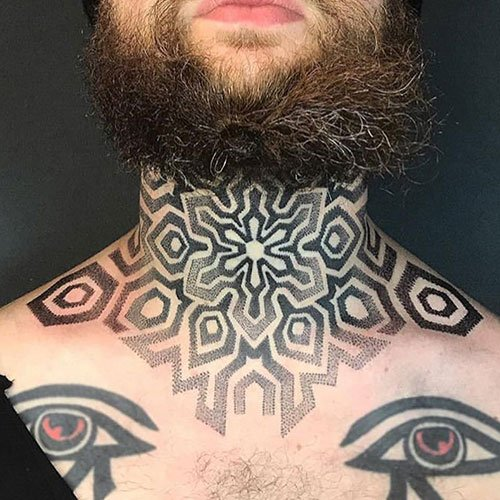Unique Pattern Neck Tattoo Designs For Guys