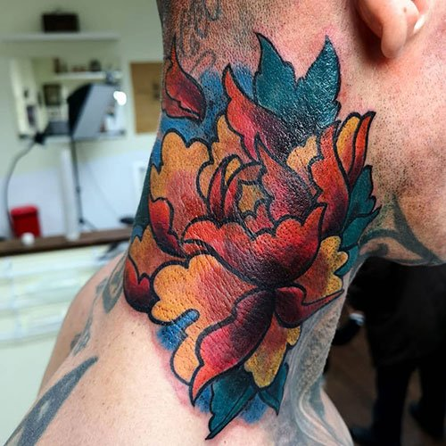 Colorful Neck Tattoo Ideas For Guys