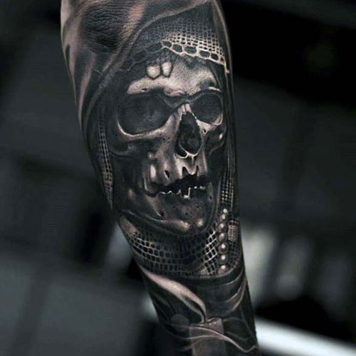 3D Cool Skull Forearm Tattoos