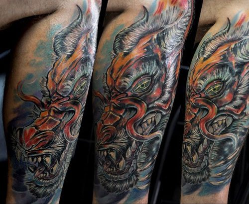 Amazing Dragon Tattoo on Leg