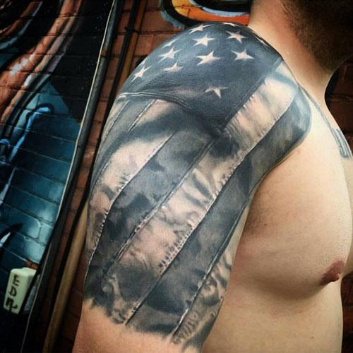 American Flag Half Sleeve Arm Tattoo Ideas