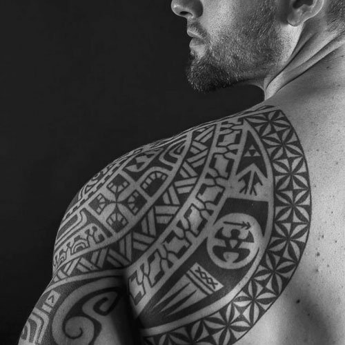 Arm, Shoulder and Back Tribal Tattoo Designs For Guys