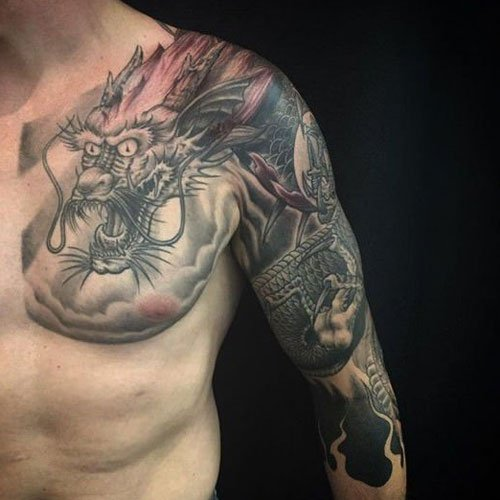 Awesome Arm, Chest Dragon Tattoo Designs For Men