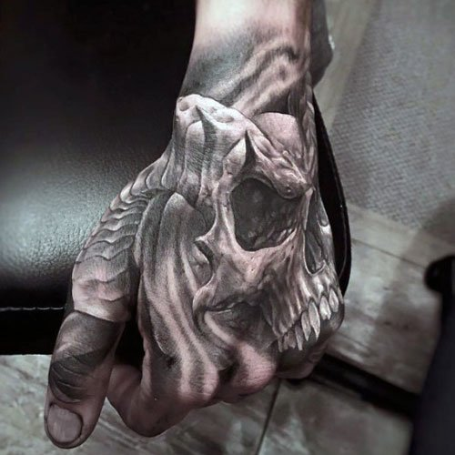 Awesome Back of Hand Skull Tattoos