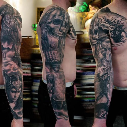 Awesome Warrior Skull Sleeve Tattoo Designs