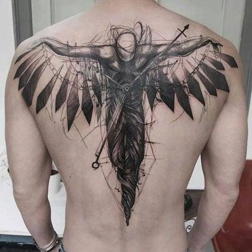 Badass Angel Upper Back Tattoos For Guys