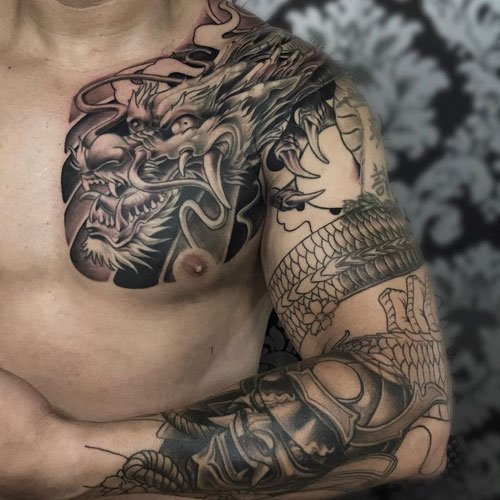 Badass Arm, Shoulder, Chest Dragon Tattoo Designs