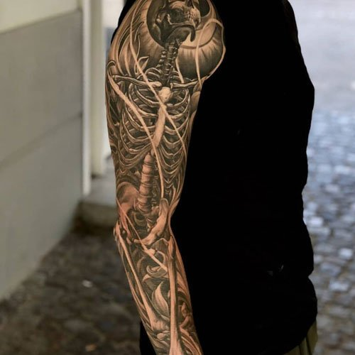 Badass Arm Shoulder Tattoo Drawings For Men