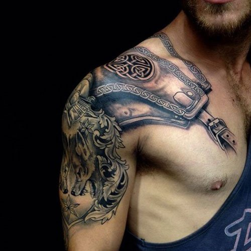Badass Armor Shoulder Tattoo Ideas
