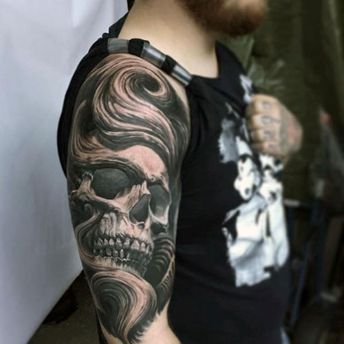 Badass Black and Grey 3D Sleeve Tattoos