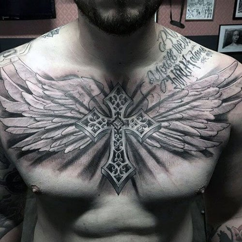 Cross with Wings Tattoo on Chest