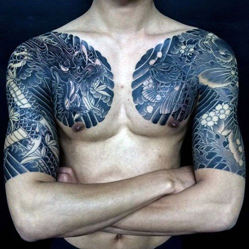 Badass Dragon Chest Tattoo