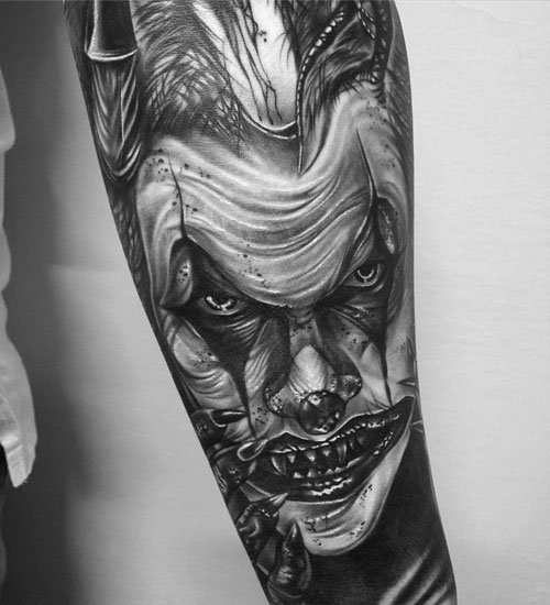 Badass Evil Joker Forearm Tattoo Designs