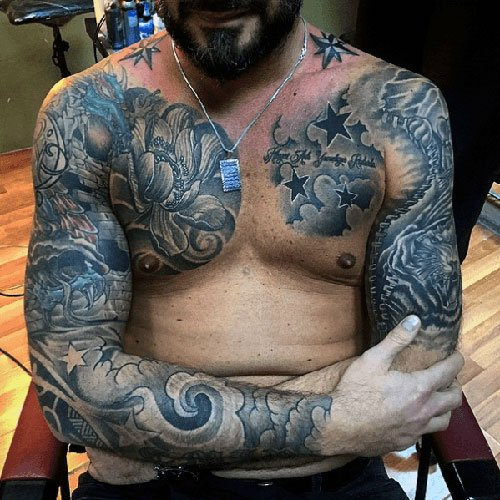 Badass Full Sleeve Chest Shoulder Tattoo Designs
