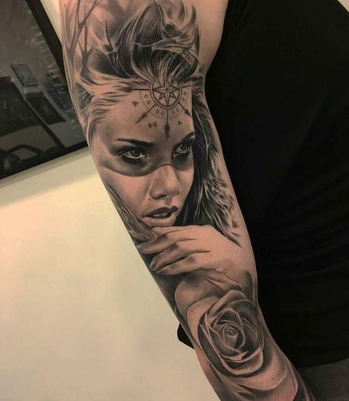 Badass Full Sleeve Portrait Tattoos For Men