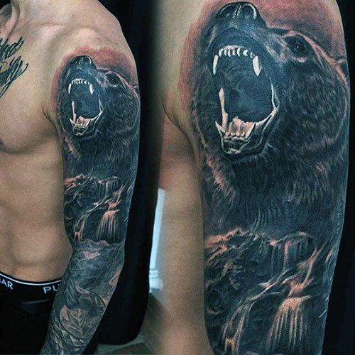 Badass Full Sleeve Wolf Tattoos