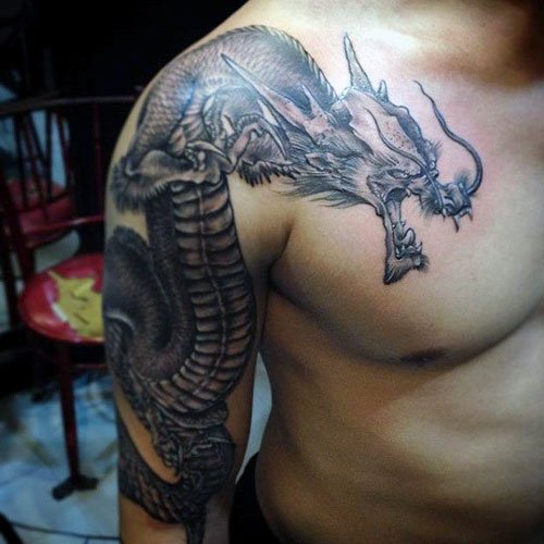 Badass Half Sleeve, Shoulder and Chest Dragon Tattoo For Men