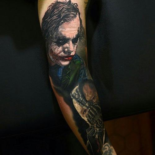 Badass Joker and Bane Full Sleeve Tattoo Ideas