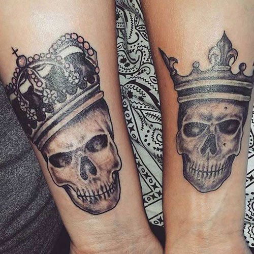 Badass King and Queen Crown Tattoos on Arm