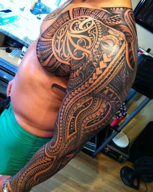 Badass Polynesian Tribal Shoulder Tattoo Designs