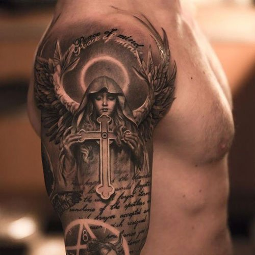 Badass Religious Half Sleeve Angel Cross Tattoo