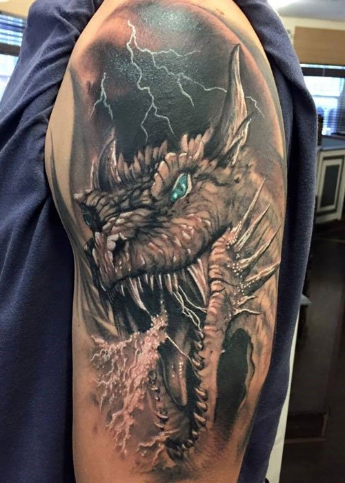 Badass Upper Arm Shoulder Dragon Tattoo Designs