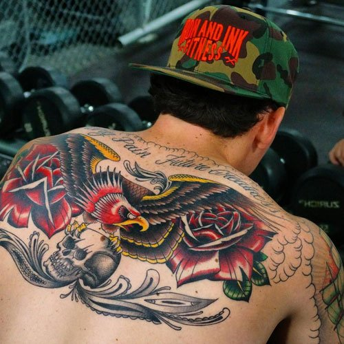 Badass Upper Back Eagle Tattoos For Guys