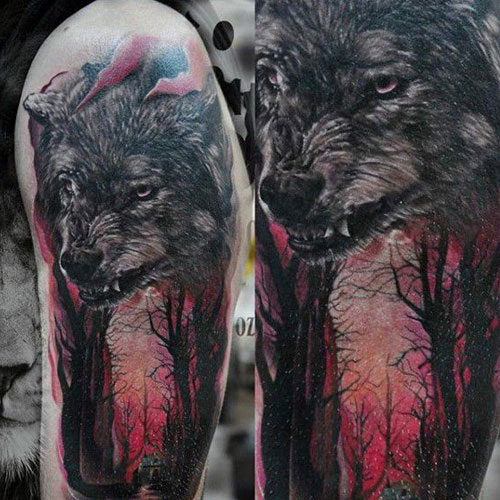Badass Wolf Face Tattoo