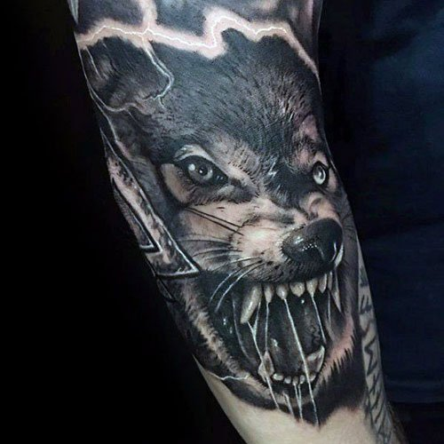 Badass Wolf Forearm Tattoo Designs