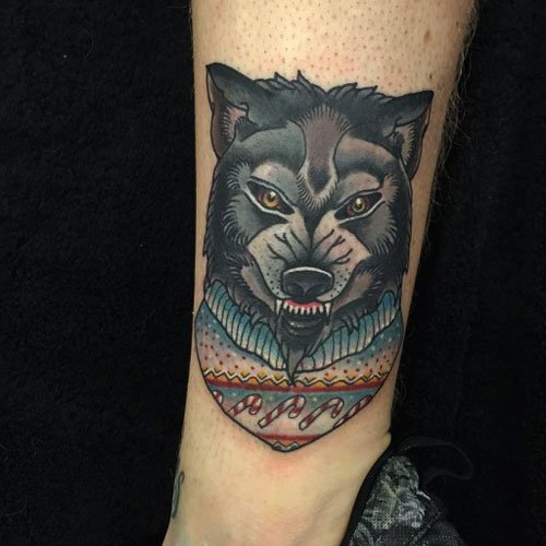 Badass Wolf Leg Tattoos For Men