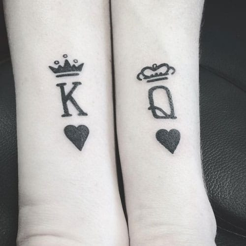 Black King and Queen Tattoos - Hearts with Crowns