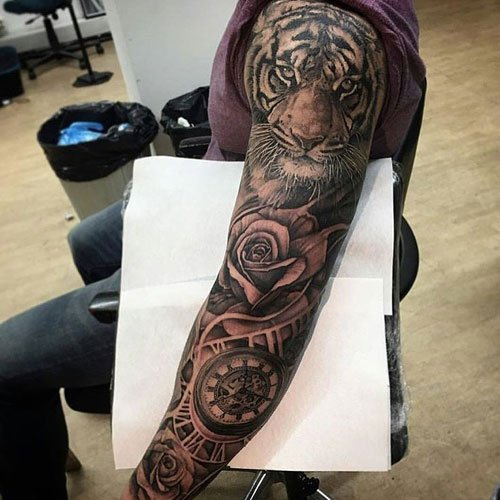Black and Grey Full Sleeve Shoulder Tattoos