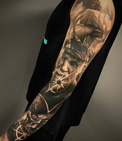 Black and White Full Sleeve Tattoo Ideas