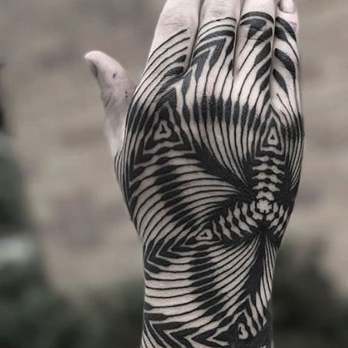 Black and White Hand Tattoo
