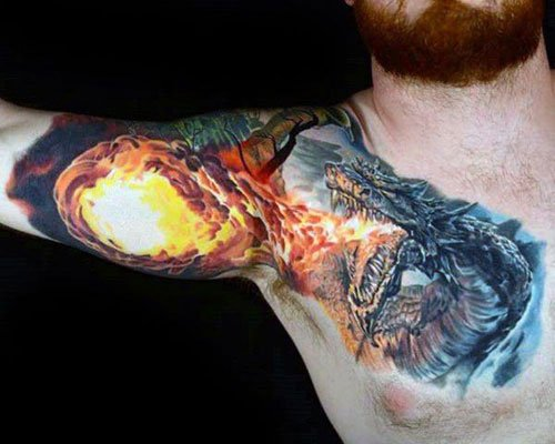 Breathing Fire Dragon Tattoo Design on Chest, Shoulder, Bicep