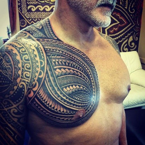 Chest and Shoulder Tattoo Designs For Guys