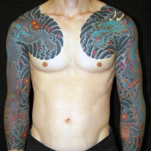 Colorful Dragon Chest Tattoos For Guys